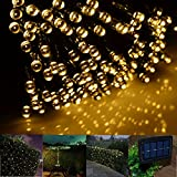 Solar Outdoor String Lights LED Fairy Garden Light Powered by Solar Panels christams lights (Yellow, 200 led string lights)