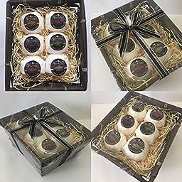Reve Calme LUXURY COLLECTION Foaming Bath Bombs Gift Set (Qty. 6 - 2oz/56.70g Bath Bombs in Dark Bamboo Basket)