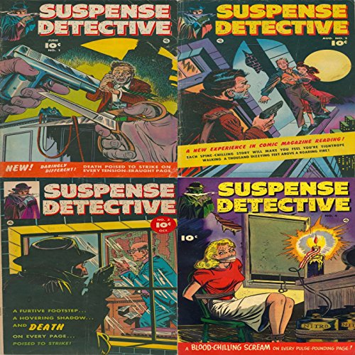 Suspense detective. Issues 1, 2, 3 and 4. Daringly different. Death poised to strike on every tension eraught page. A furtive footstep, a hovering shadow and death on every page poised to strike. PDF