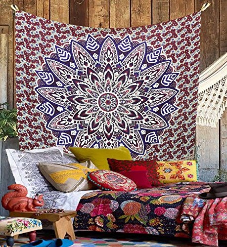 Wall Hanging Kesrie Mandala arazzo indiano hippy, Copriletto in cotone stampato