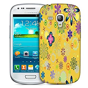 Snoogg Yellow Floral Pattern Designer Protective Phone Back Case Cover For Samsung Galaxy S3 Mini