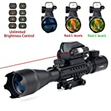 4-16x50EG AR15 Tactical Rifle Scope Red/Green Illuminated Range Finder Reticle W/ Red(Green) Laser and Multi Optical Coated Holographic Dot Sight (Red)