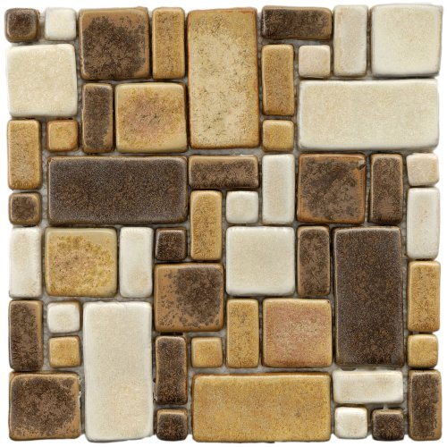Heritage Brown Gold 12 x 12 Inch Glazed Ceramic Mosaic Floor & Wall Tile (Each)