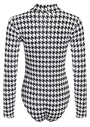 Womens Ladies Long Sleeve Polo Neck Tartan Leopard Stretchy Leotard Bodysuit by OOG