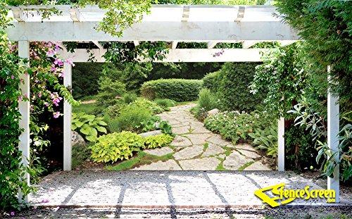 fencescreen garden with stone path decorative gazebo