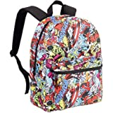 "Pack your essentials inside this action-packed 16"" Marvel Comic Backpack. Its vibrant all-over comic book design features your favorite Marvel characters like Spider-Man, Captain America, Iron Man, Hawkeye and the Incredible Hulk. This backpa..."