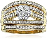 IGI Certified 14k Yellow Gold Diamond Cluster Bridal Set of 3 Wedding Ring Set (1cttw,H-I Color,I1-I2 Clarity)