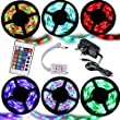 Noza Tec� 5M RGB 3528 300 Led Strips Lighting Full Kit With 24Key IR Remote +2A AC UK Power Supply For Home lighting and Kitchen (Non-Waterproof)