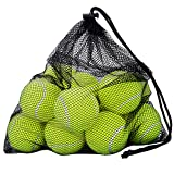 OMorc Pressureless Tennis Balls - 12 Balls with Mesh Carrying Bag, Sturdy & Durable, - Great For Lessons, Practice, Throwing Machines & Playing With Pets