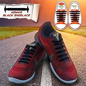 Homar Kids Elastic Athletic Flat No Tie Shoelaces - Best in Sports Outdoors Fan Shop Footwear Shoelaces - Once and for All Silicon Shoe Laces Perfect for Sneaker Boots Oxford and Casual Shoes - Black