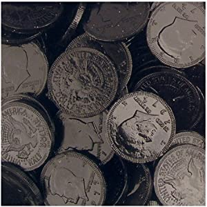 Fort Knox Metallic Foiled Milk Chocolate Midnight Black Large Coins in 1 Lb. Mesh Bag