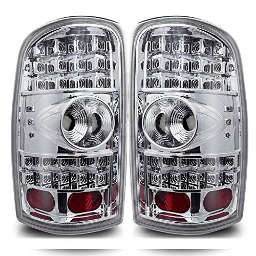 Premium 2Pc Tail Lights Fit 00-06 Chevy Tahoe;00-06 Chevy Suburban;00-06 Gmc Yukon Led Tail Lights - Chrome Reflector / Clear Lens - Light Bulb Type Led. (1 Pair Includes Both Driver & Passenger Sides.)