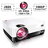 HD Projector, Artlii 1080P Support Portable Movie Projector with 2800 Lumens,LED Mini Projector with Zooming,Dolby Stereo,2 HDMI,USB VGA,Compatible w/Fire TV Stick, PS4, Xbox,DVD,Laptop (Color: White)