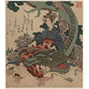 Vinyl Sticker of historic Japanese Art: a woman playing a koto with a dragon curled around her