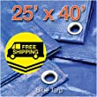 25\' x 40\' Blue Poly Tarp Cover, Water Proof Tent Shelter Camping RV Boat Tarpaulin