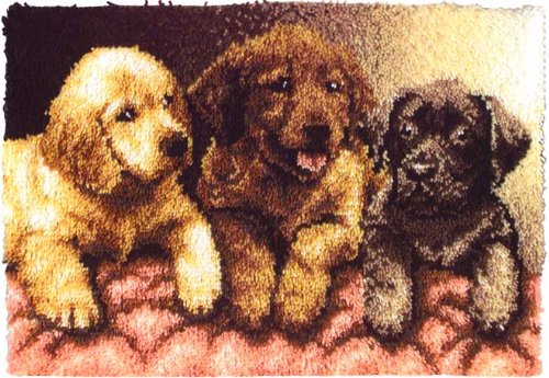 Wonderart 24x34 Latch Hook Kit: Lab Puppies