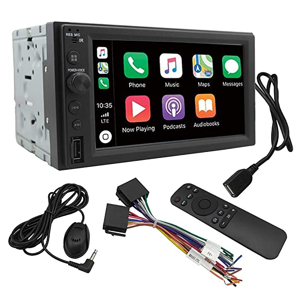 Chaowei CW6200 2Din Car Multimedia Receiver Compatible with Apple CarPlay,Android Auto,6.2 inches LCD Touchscreen,Bluetooth,MP5 Player,Dual USB Ports,AV Input,AM/FM Car Radio (Color: Black)