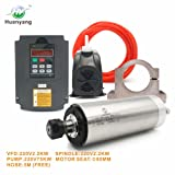 VFD CNC Spindle Motor Kits with 220V 2.2KW CNC VFD+220V 2.2KW 4bearings 400hz 24000rpm Water Cooled Spindle Motor+220V 75W Water Pump+80mm Motor Clamp Mount+5m Water Pipe (Factory Direct Sales) (Color: 220v-2.2kw, Tamaño: 220V-2.2KW VFD)