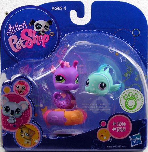 Buy Low Price Hasbro Littlest Pet Shop 2010 Assortment 'A' Series 1 Collectible Figure Seahorse & Blue Fish (B0032MUG84)