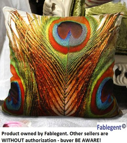 Fablegentxh4 - Elegant Decorative Throw Pillow Cover - Peacock Feathers Design On Both Sides - Soft Velvet Fabric - Return Shipping Covered For Continental Us Regions front-584704