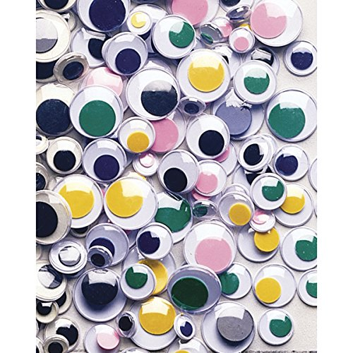 Creativity Street Peel and Stick Wiggle Eyes Assorted, 7mm to 15mm, 100-Pack