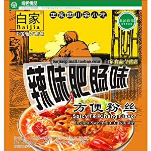 Sichuan Baijia Instant Sweat Potato Threadnoodle Spicy Artificial Fei-chang Flavor 370 Oz Pack Of 4