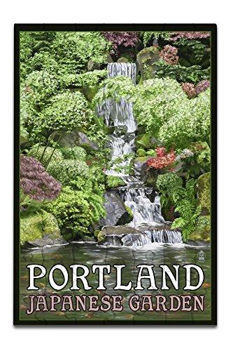 Portland Japanese Garden Koi Pond And Falls 8x12 Premium Acrylic Puzzle 63 Pieces