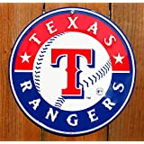 Texas Rangers 12 inch Baseball Style Metal Circle Sign