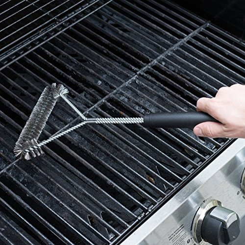BBQ Grill Brush 18 Inch - Barbecue Tool - Barbecue Cleaning Brush - BBQ Stainlesss Steel Grill Brush - Heat Resistant - Cleans Burnt on Barbecue Ribs and Sauce - Works On Smoker - Easy Grip No Gloves Needed
