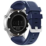 FanTEK Band for Samsung Gear S3 Frontier/Classic Watch, Silicone Sport Replacement Strap with 22mm Quick Release Pins Work for Moto 360 2nd Gen 46mm/ Pebble Time Steel Smart Watch, Midnight Blue (Color: Midnight Blue)