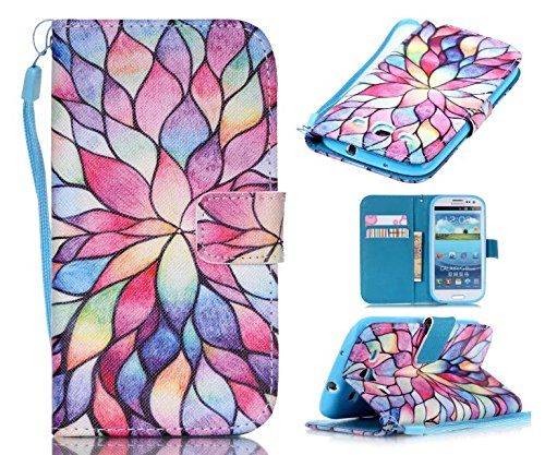 S3 Case, Galaxy S3 Case, ArtMine Colorful Flowers Printed PU Leather Magnetic Closure Wallet Pouch Phone Case with Wristlet and Credit/ID Card Cash Slot for Samsung Galaxy S3 (Wristlet For Samsung Galaxy S3 compare prices)