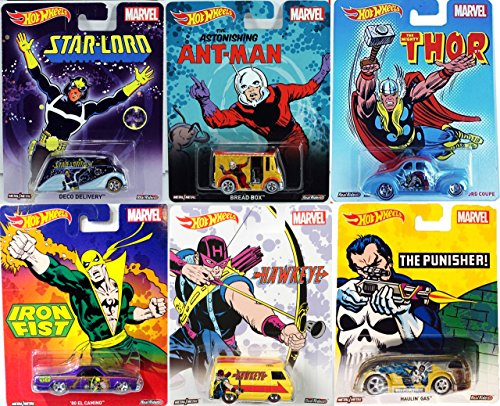 Marvel Hot Wheels Pop Culture Series 6 Cars Ant Man Bread Box & Iron Fist El Camino / Hawkeye Dodge Van /Starlord Deco Delivery / Avengers Thor For Coupe / The Punisher Haulin Gas Super Hero (1940 Captain America compare prices)