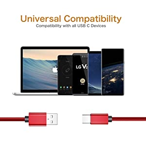 USB Type C Cable, (2-PACK 3FT) USB C Charger Cable Nylon Braided Fast Charging Sync Cord Compatible Samsung Galaxy S10e S9 S8 Plus,Note 9 8, LG G7 V30