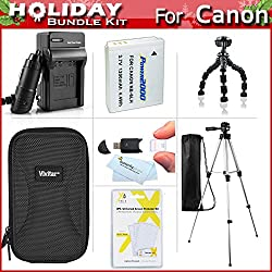 "Holiday Accessories Gift Kit For Canon PowerShot SX600 HS, SX610 HS, SX710 HS Digital Camera Includes Replacement NB-6L Battery + Charger + Case + 50"" Tripod + 7"" Flexible Tripod + More"