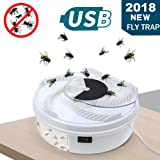 PROEXME Electric Fly Trap Device, USB Powered Fly Catcher, Automatic Fly Insect Killer for Indoor Outdoor Use (Color: White, Tamaño: Large)