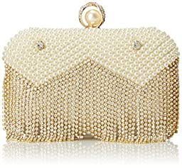 MG Collection Isolde Pearl Fringe Clutch, Gold, One Size