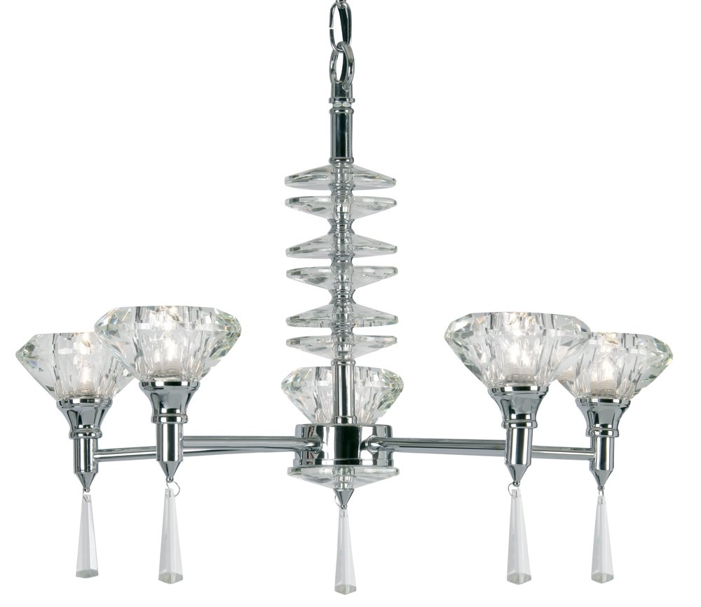 Sahar ceiling fitting in polished chrome finish complete with K9 crystal glass shades. Duel purpose for use with chain or as flush mounted.       Customer reviews