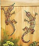 Set of 2 Gecko Beaded Garden Wall Decoration