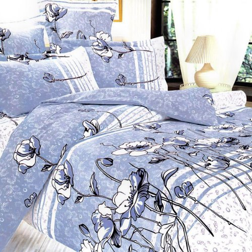 Blancho Bedding - [Pale Blue Lotus] 100% Cotton 4PC Comforter Cover/Duvet Cover Combo (King Size)