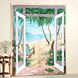 "Island Breeze Trompe l'oeil Window Art Curtains-Set of Two-72"" x 84"""