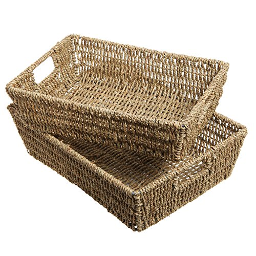 Set of 2 Beige Woven Seagrass Double Handled Storage Baskets / Decorative Home Organizer Tray Bins