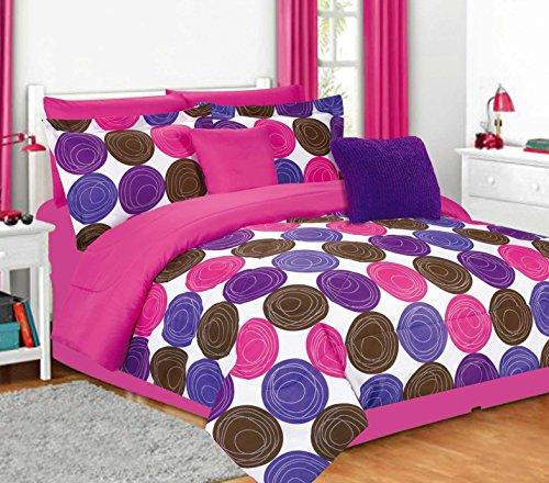 Jacky Modern Circles Comforter Set - Full / Queen, Purple/Hot Pink
