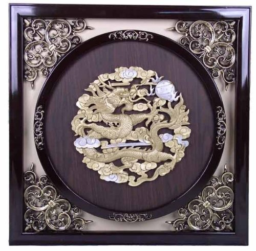 Antique Style Wall Frame Golden Single Dragon Design (Med)