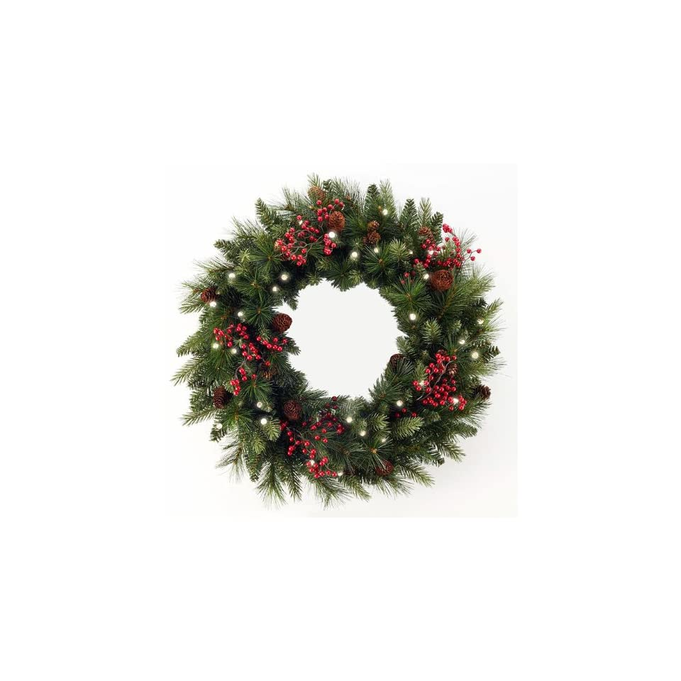 48 Pre Lit Canadian Pine Artificial Christmas Wreath   Clear Lights