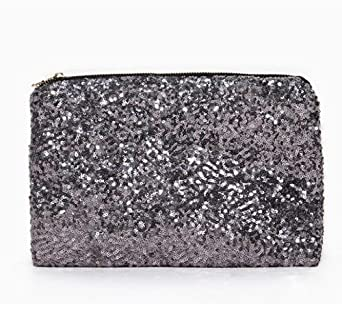 Highwinwin Dazzling Glitter Sparkling Bling Sequins Handbag Clutch Evening Party Bag Purse (Silver)