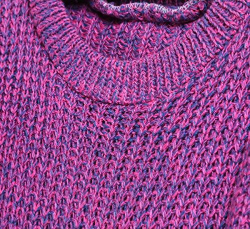 SheIn Women's Plain Purple Long Sleeve Dipped Hem Casual Sweater