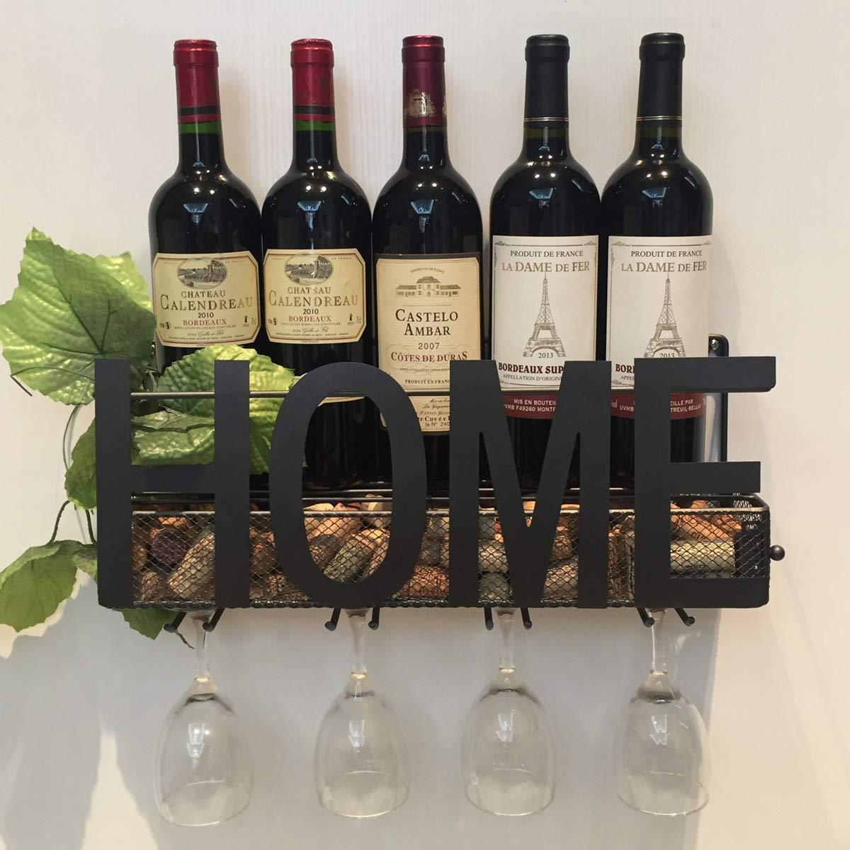 Soduku Wall Mounted Metal Wine Rack 4 Long Stem Glass Holder & Wine Cork Storage