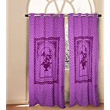 "House This! Cotton Window Curtain - 54""x60"", Purple (CR-628B)"