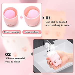 Taocci Makeup Sponge Container/2Beauty Sponge Travel Case And 2Makeup Sponge Drying Holder/Cute Cat Silicone Beauty Blender Travel Carrying Case/Beaut