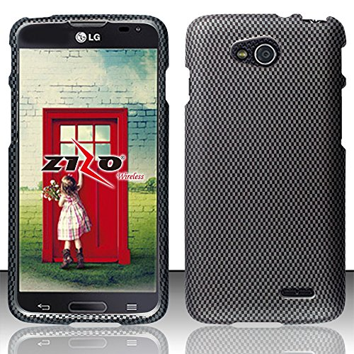 LG Optimus L90 Black Carbon Fiber Rubberized Plastic Cover Snap On Hard Gel Case Cell Phone Shield Protector Shell from [Accessory Library] (Cell Phone Cases Lg Optimus L90 compare prices)